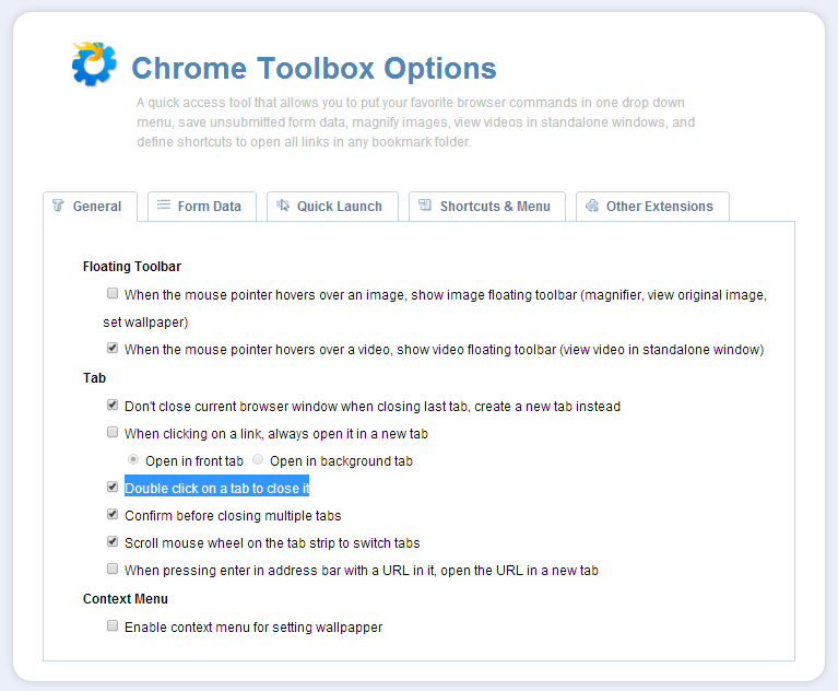 Chrome Toolbox Options